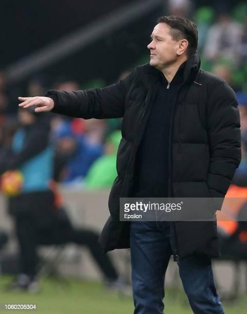Head coach of FC Yenisey Krasnoyarsk Dmitri Alenichev gestures during the Russian Premier League match between FC Krasnodar and FC Yenisey...