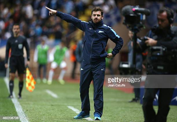 Head coach of FC Zenit Andre VillasBoas gestures during the UEFA Champions League Group C match between AS Monaco FC and FC Zenit SaintPetersburg at...