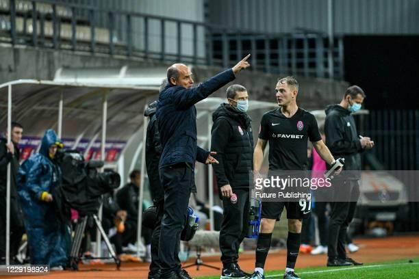 Head coach of FC Zorya Luhansk Viktor Skrypnyk is seen on the sideline during the Ukrainian Premier League Matchday 6 game against FC Kolos Kovalivka...