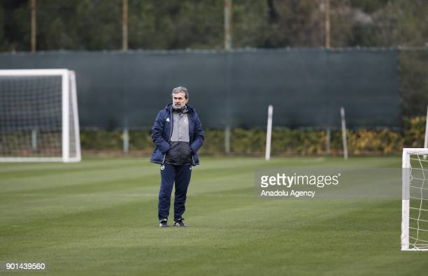 Head coach of Fenerbahce Aykut Kocaman leads a training session ahead of the 2nd half of Turkish Super Lig at Belek Tourism Center in Serik district...