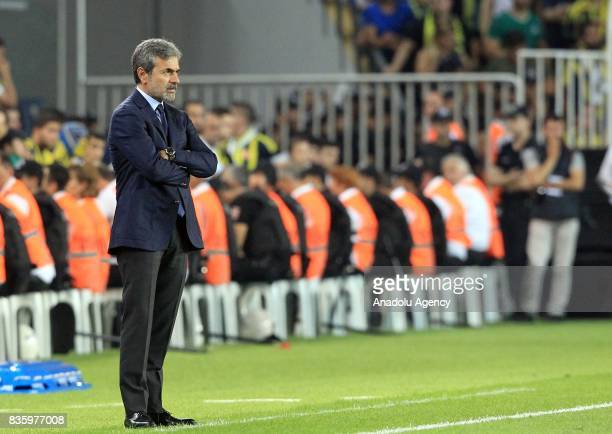 Head coach of Fenerbahce Aykut Kocaman looks on during Turkish Super Lig soccer match between Fenerbahce and Trabzonspor at the Ulker Stadium in...