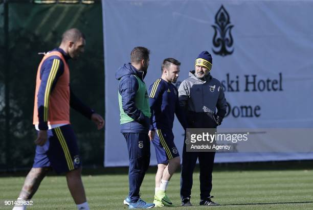 Head coach of Fenerbahce Aykut Kocaman talks to his player Valbuena during a training session ahead of the 2nd half of Turkish Super Lig at Belek...