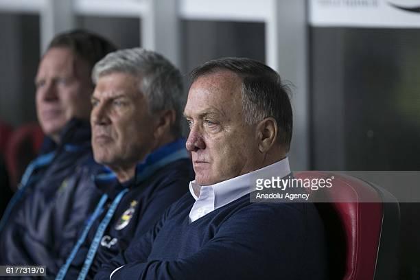 Head Coach of Fenerbahce Dick Advocaat is seen during Turkish Spor Toto Super Lig match between Atiker Konyaspor and Fenerbahce at Torku Arena in...