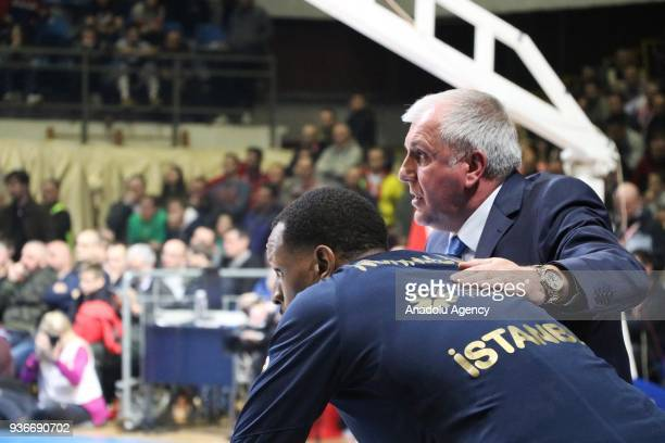 Head coach of Fenerbahce Dogus Zeljko Obradovic gestures during the Turkish Airlines Euroleague week 28 basketball match between KK Crvena Zvezda and...