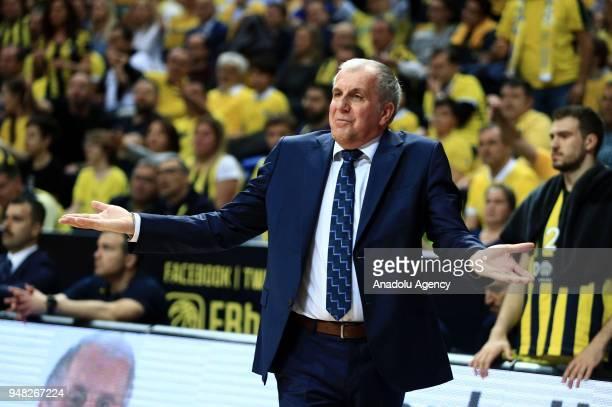 Head coach of Fenerbahce Dogus Zeljko Obradovic gestures during the Turkish Airlines Euroleague Playoffs quarter final basketball match between...