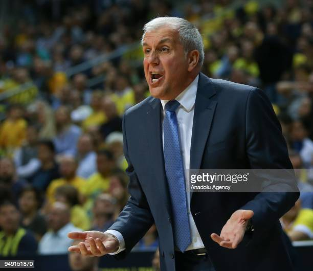 Head coach of Fenerbahce Dogus Zeljko Obradovic reacts during Turkish Airlines Euroleague playoff Quarter Final series second match between...