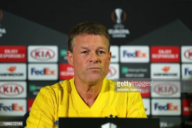 Head coach of Fenerbahce Erwin Koeman and Roman Neustaedter hold a press conference ahead of the UEFA Europa League Group D soccer match between...