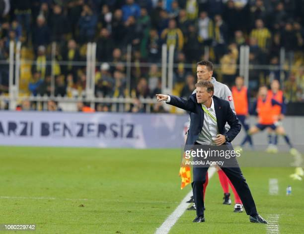 Head coach of Fenerbahce Erwin Koeman gives tactics to his players during the Turkish Super Lig soccer match between Fenerbahce and Aytemiz...