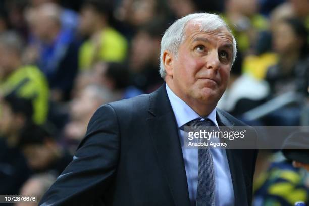 Head coach of Fenerbahce Obradovic is seen during the Turkish Airlines Euroleague basketball match between Fenerbahce and AX Armani Exchange Olimpia...