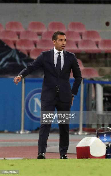 Head coach of Feyenoord Giovanni Van Bronckhorst during the UEFA Champions League group F match between SSC Napoli and Feyenoord at Stadio San Paolo...