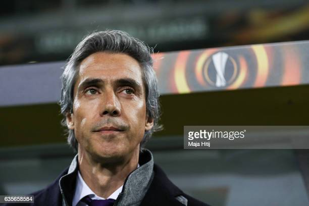Head Coach of Fiorentina Paulo Sousa looks on prior the UEFA Europa League Round of 32 first leg match between Borussia Moenchengladbach and ACF...