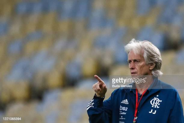 Head coach of Flamengo Jorge Jesus gestures during the match between Flamengo and Bangu as part of the Carioca State Championship at Maracana Stadium...