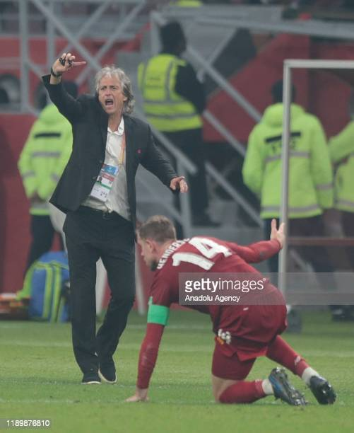 Head Coach of Flamengo Jorge Jesus gives tactics to his players during the FIFA Club World Cup Qatar 2019 Final match between Liverpool FC and CR...