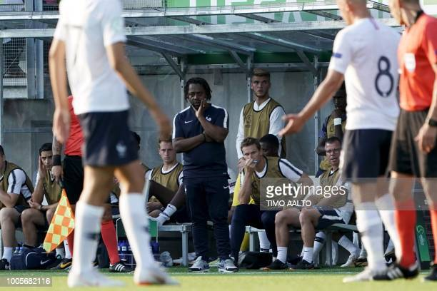 Head coach of France Bernard Diomede looks on from the sideline during the football 2018 UEFA European Under-19 Championship semifinal match Italy vs...