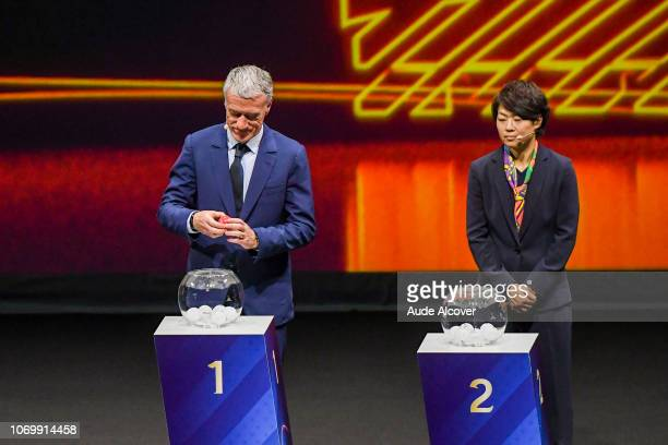Head coach of France Didier Deschamps and Aya Miyama of Japan during the Women's World Cup Draw 2019 at La Seine Musicale on December 8 2018 in Paris...