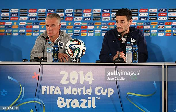 Head coach of France Didier Deschamps and captain of France Hugo Lloris answer to the media during a press conference on the eve of the 2014 FIFA...