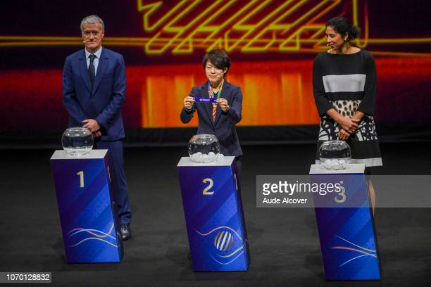 Head coach of France Didier Deschamps Aya Miyama of Japan and Steffi Jones during the Women's World Cup Draw 2019 at La Seine Musicale on December 8...