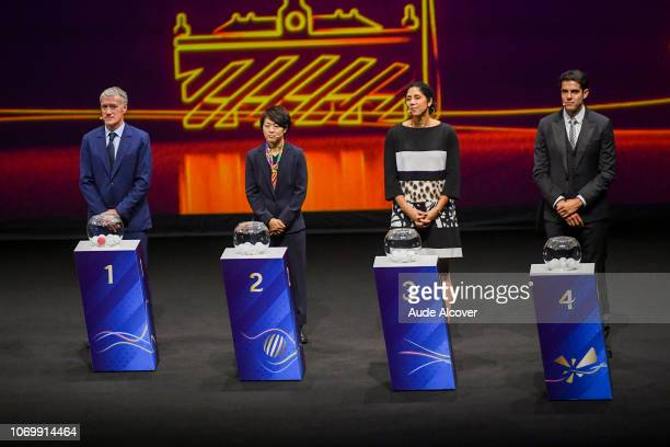 Head coach of France Didier Deschamps Aya Miyama of Japan Steffi Jones and Kaka during the Women's World Cup Draw 2019 at La Seine Musicale on...