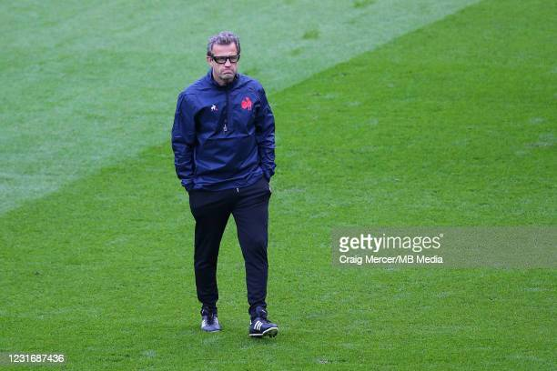 Head Coach of France Fabien Galthie looks on during the pre match warm up ahead of the Guinness Six Nations match between England and France at...