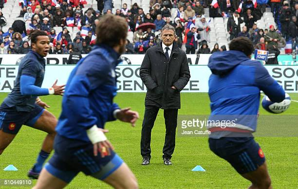 Head coach of France Guy Noves attends the warm up before the RBS 6 Nations match between France and Ireland at Stade de France on February 13 2016...