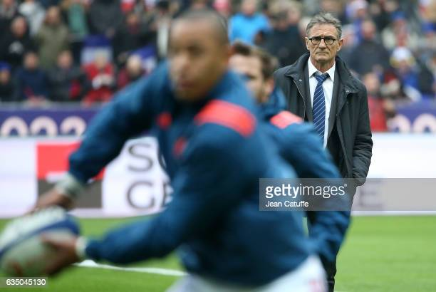Head coach of France Guy Noves looks on during practice ahead of the RBS 6 Nations tournament match between France and Scotland at Stade de France on...