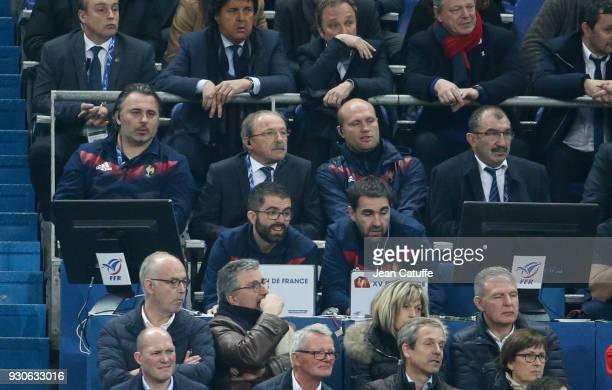 Head coach of France Jacques Brunel between his assistants Sebastien Bruno Julien Bonnaire during the NatWest 6 Nations Crunch match between France...