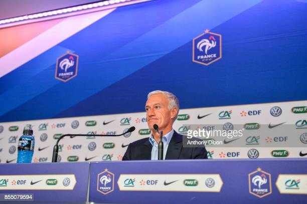 Head coach of France Team Didier Deschamps during press conference on September 28 2017 in Paris France
