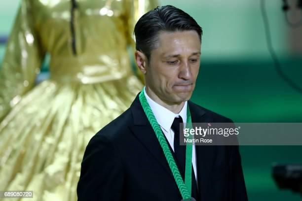 Head coach of Frankfurt Niko Kovac looks dejected after losing the DFB Cup Final 2017 between Eintracht Frankfurt and Borussia Dortmund at...