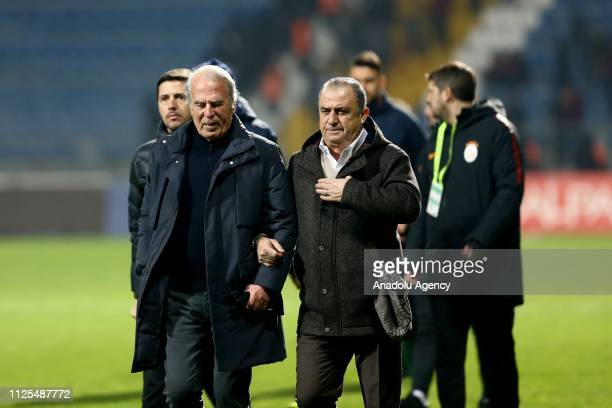 Head coach of Galatasaray Fatih Terim and Kasimpasa's head coach Mustafa Denizli gather after the Turkish Super Lig soccer match between Kasimpasa...