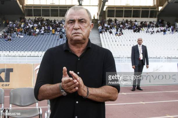 Head Coach of Galatasaray Fatih Terim applauding during friendly football game between AEK Athens and Galatasaray in OAKA Stadium in Athens on 31th...