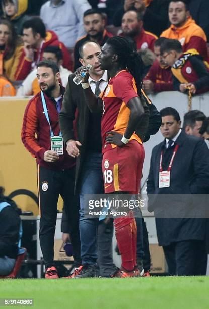 Head coach of Galatasaray Igor Tudor gives tactics to his player Gomis during a Turkish Super Lig soccer match between Galatasaray and Aytemiz...