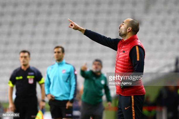 Head coach of Galatasaray Igor Tudor gives tactics to his players during the Turkish Super Lig soccer match between Atiker Konyaspor and Galatasaray...