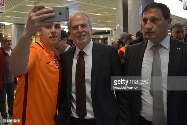 Head coach of Galatasaray Mustafa Denizli arrives in Rome, Italy on February 23, 2016 ahead of the UEFA Europa League Round of 32 match between Lazio...