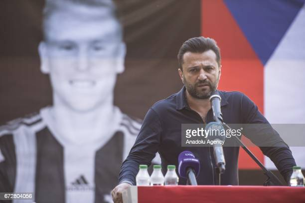 Head Coach of Gaziantepspor Bulent Uygun speaks during a memorial ceremony held for Czech football player Frantisek Rajtoral who was found dead...