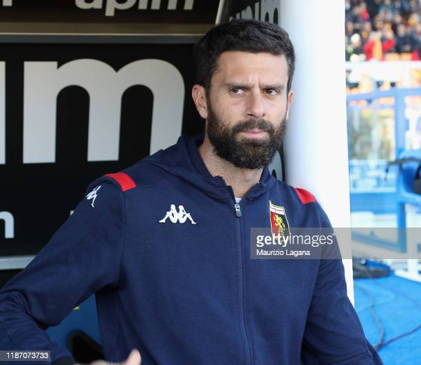 Head coach of Genoa Thiago Motta looks on during the Serie A match between US Lecce and Genoa CFC at Stadio Via del Mare on December 8, 2019 in...