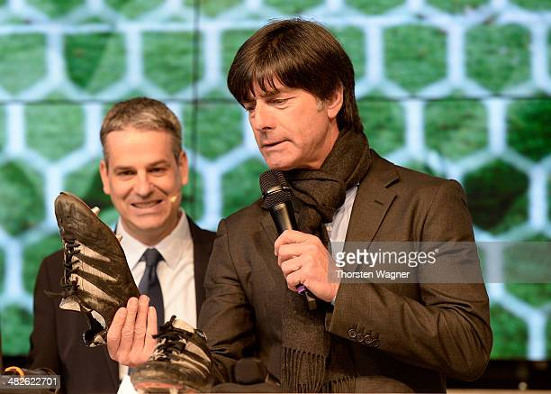 Head coach of German National Football team Joachim Loew talks during the topping out ceremony of German Football Association football museum on...