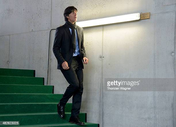 Head coach of German National Football team Joachinm Loew looks on during the topping out ceremony of German Football Association football museum on...