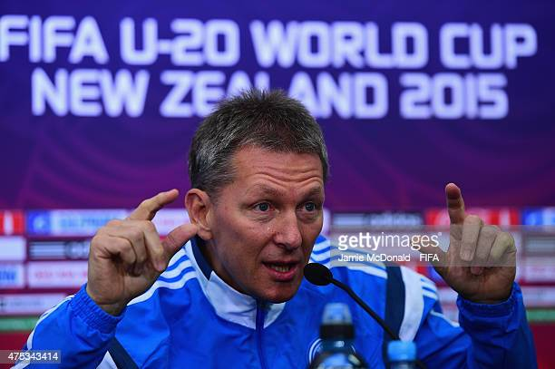 Head coach of Germany Frank Wormuth talks to the media during a Germany press conference at the Christchurch stadium on May 31 2015 in Christchurch...