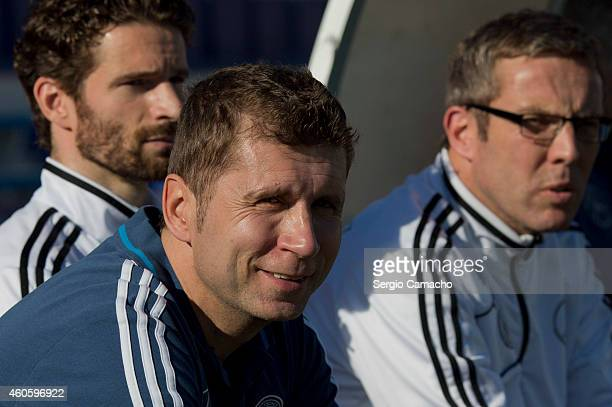Head coach of Germany Guido Streichsbier looks on to his players during the international friendly match between U18 USA and U18 Germany at Campo...