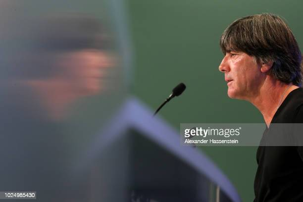 Head coach of Germany Joachim Loew talks to the media at Allianz Arena on August 29 2018 in Munich Germany Joachim Loew has scheduled this press...