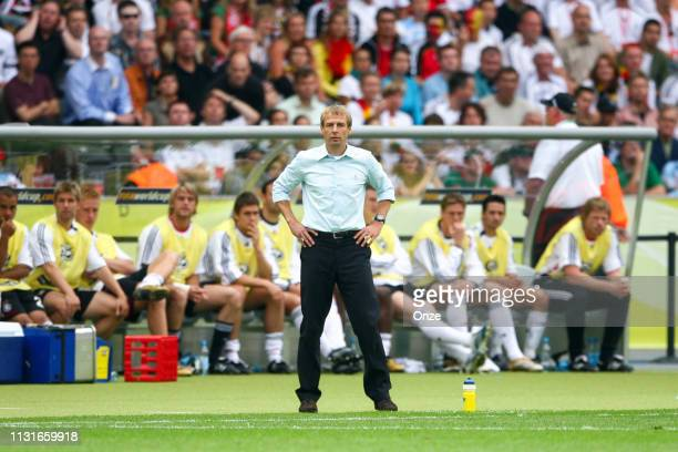 Head coach of Germany Jurgen Klinsmann during the World Cup quarter finals match between Germany and Argentina at the Olympia Stadion in Berlin on...