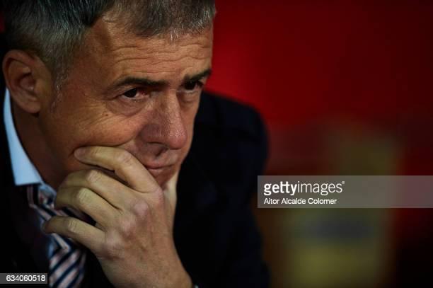 Head Coach of Granada CF Lucas Alcaraz looks on during the La Liga match between Granada CF vs UD Las Palmas at Estadio Nuevo Los Carmenes on...