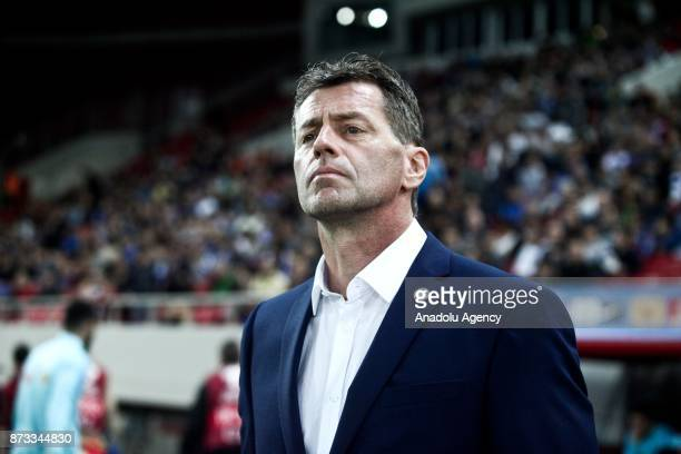 Head Coach of Greece Michael Skibbe looks on during the World Cup Russia 2018 European Qualifiers match between Greece and Croatia in Piraeus Greece...