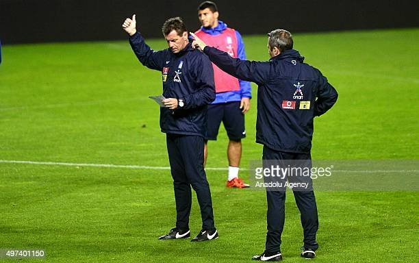 Head coach of Greek National football team Michael Skibbe leads a training session of his team ahead of a practice match against Turkey at Basaksehir...