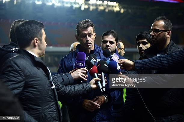 Head coach of Greek National football team Michael Skibbe speaks to the press during a training session ahead of a practice match against Turkey at...