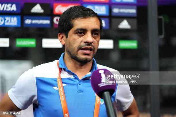 Head coach of Guatemala Estuardo De León talks to the media during the FIFA Futsal World Cup 2021 group B match between Guatemala and Football Union...