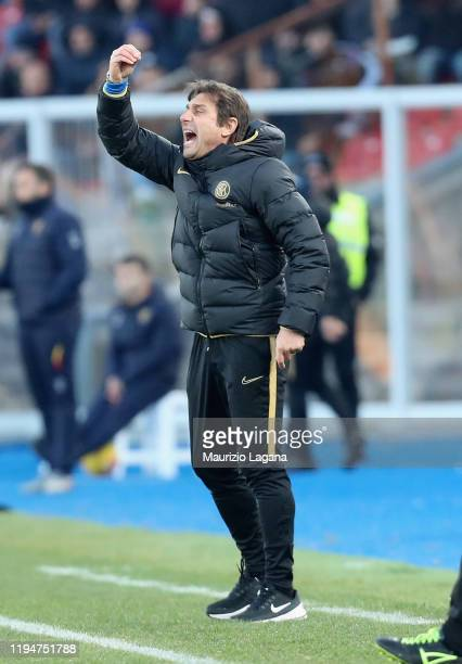 Head coach of Inter Antonio Conte gestures during the Serie A match between US Lecce and FC Internazionale at Stadio Via del Mare on January 19, 2020...