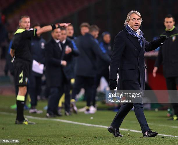 Head coach of Inter leavez the field during the TIM Cup match between SSC Napoli and FC Internazionale Milano at Stadio San Paolo on January 19 2016...