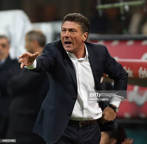 Head coach of Inter Walter Mazzarri gestures during the Serie A match between FC Internazionale Milano and UC Sampdoria at Stadio Giuseppe Meazza on...