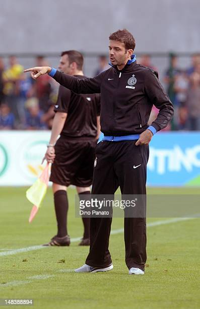 Head coach of Internazionale Milano Andrea Stramaccioni gestures during a preseason friendly match between FC Internazionale Milano and Koper on July...